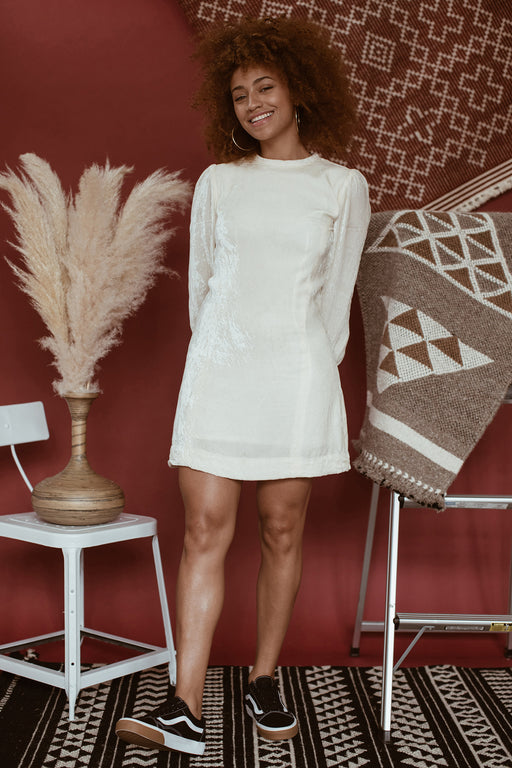Cream Crushed Velvet Mini Dress