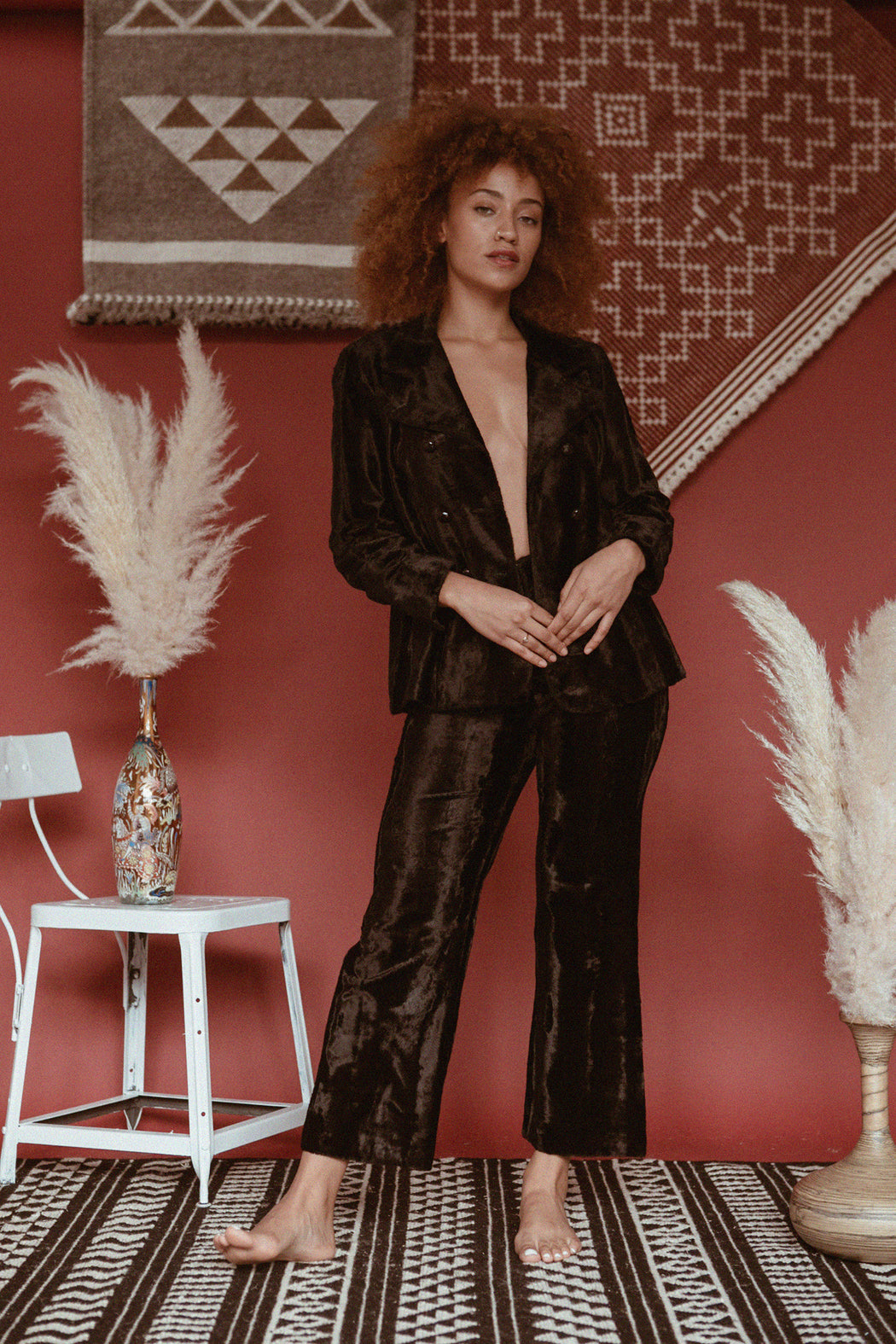 Black Crushed Velvet Suit