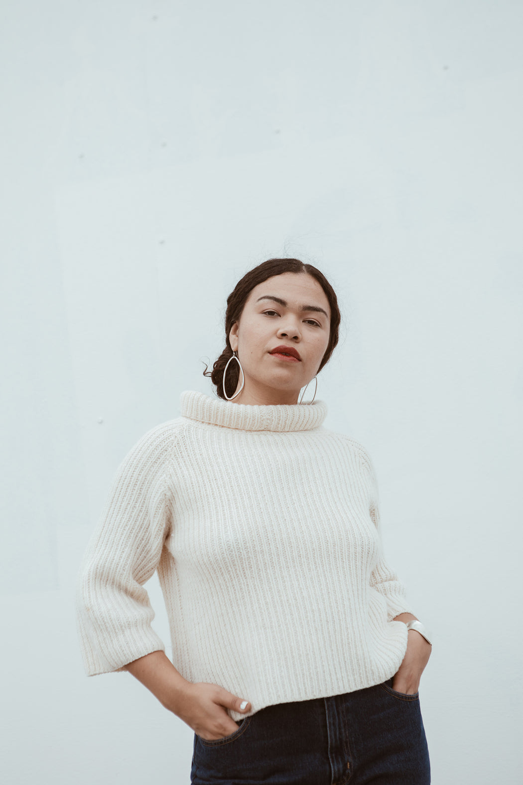 Cream Wide Neck Sweater