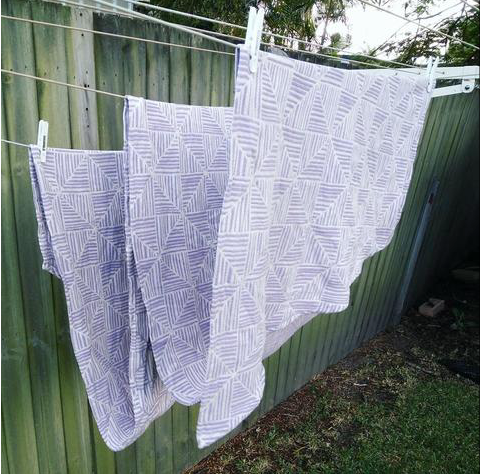 woven wrap for babywearing hanging to dry after wash