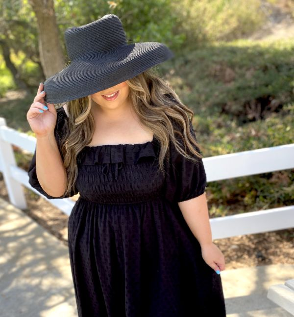 Black Derby Big Hat For Women With Big Heads