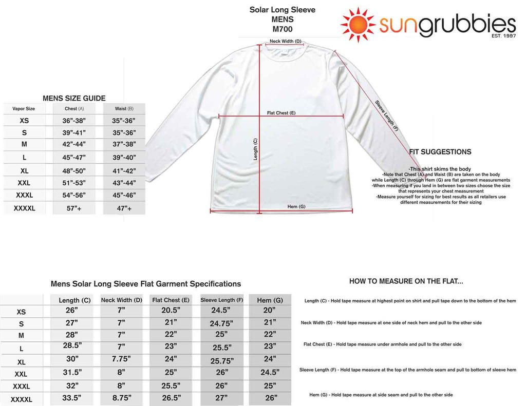 upf 50 sport shirt long sleeve men size chart