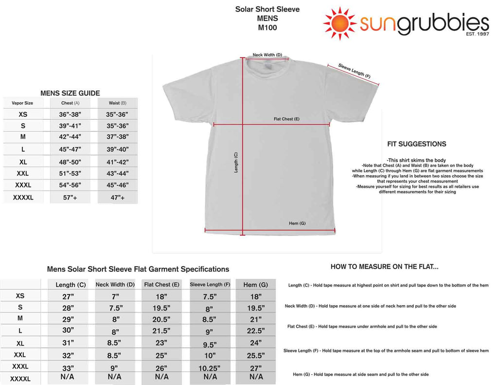 upf 50 sport shirt short sleeve men size chart