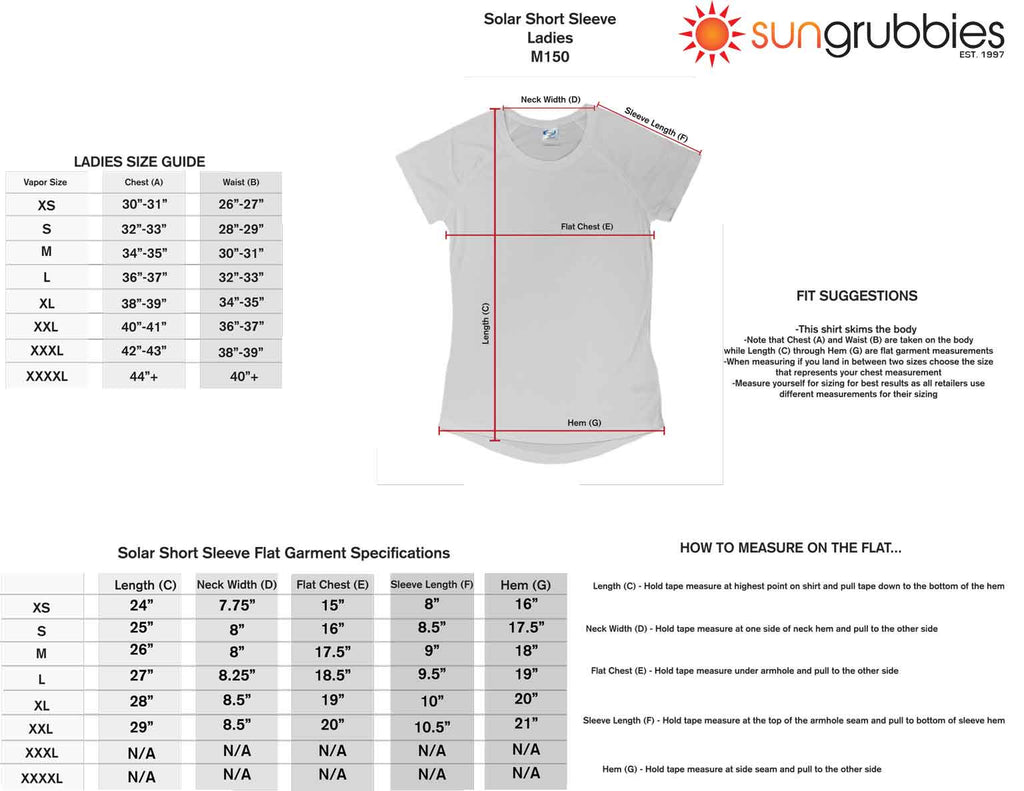 upf 50 sport shirt short sleeve women size chart