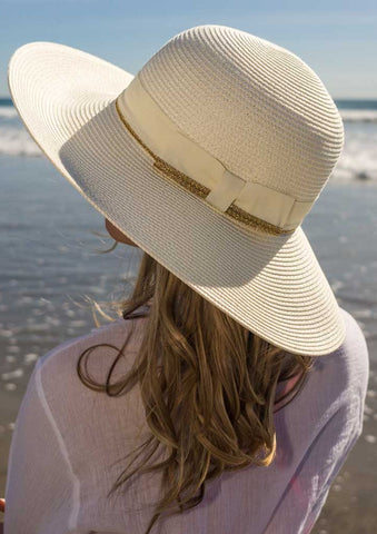 "Charlene Straw hat For Women Cream Extra Large 4"" Brim UPF 50+"