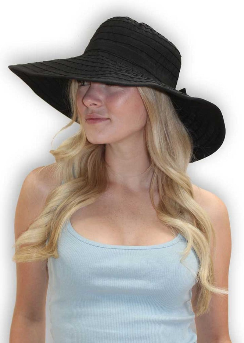 Floppy Summer Hat Black for women fits large heads