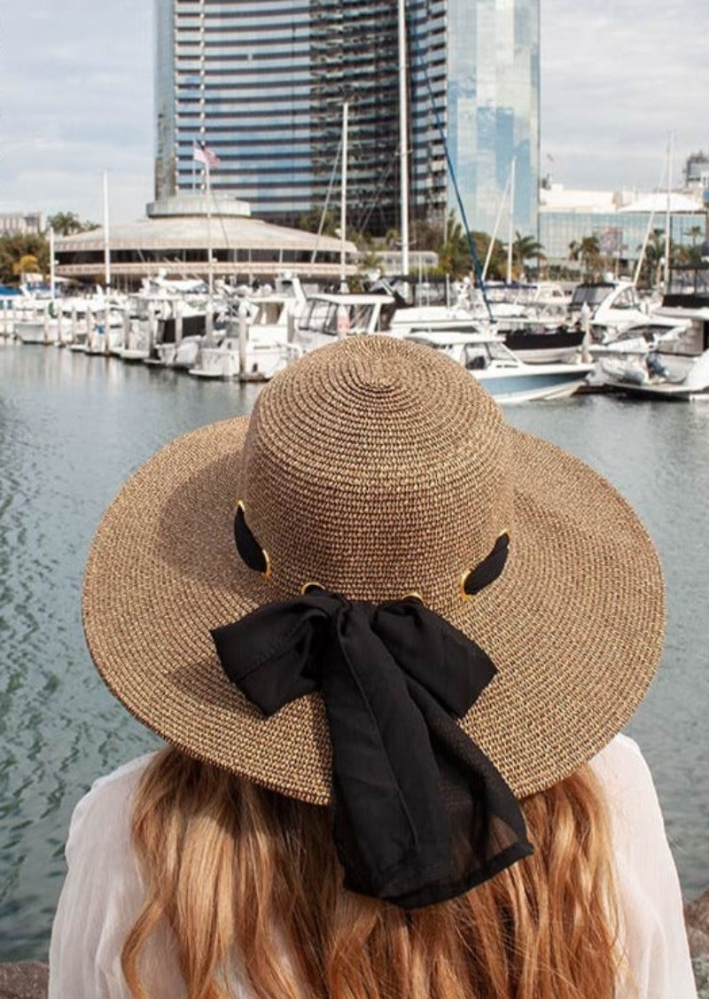 Summer Sun Hat For Women WIth Large Heads Toast With Black Ribbon