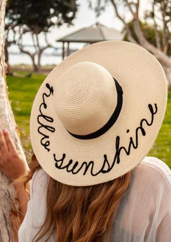 "Hello Sunshine Beach Summer Hat For Women 5"" Brim, Sizes Up to X-Large"