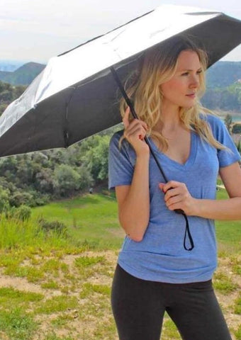 Sun Umbrella For Walking, Hiking & Travel - UV Umbrella UPF Protection Auto Open Close Silver