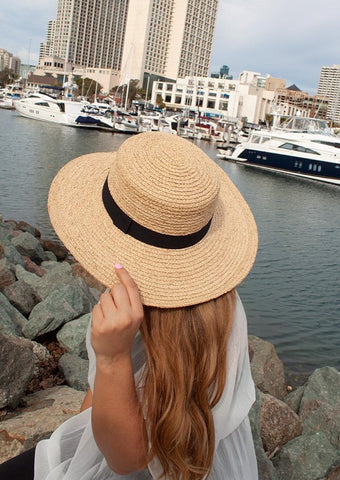 "Venezia Boater Raffia Sun Hat For Women Fits Large Heads 4"" Brim in Wheat UPF 50+"