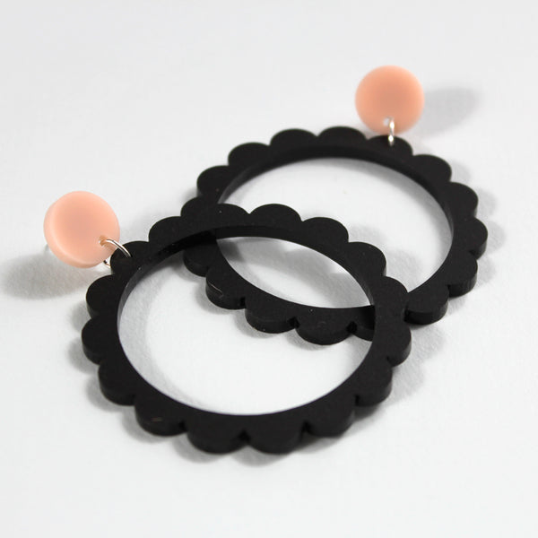 round the world black | petal hoops