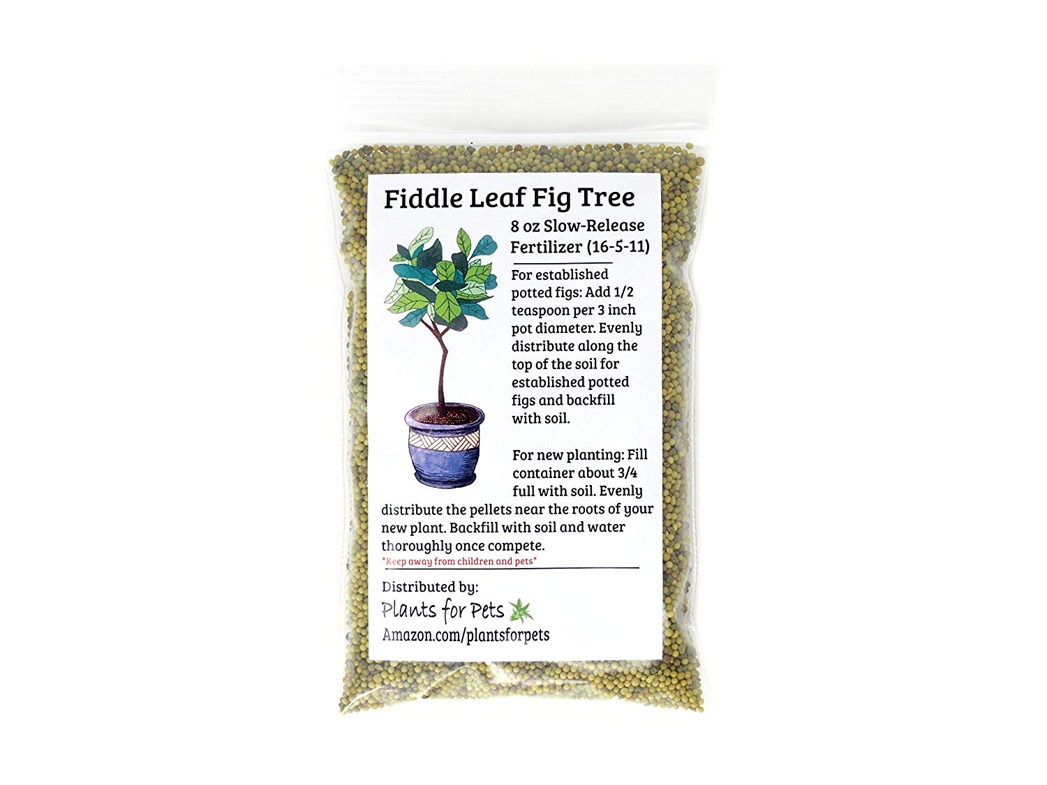 Fiddle Leaf Fig Tree Fertilizer (slow-release Pellets) Ficus Plant Food | Improves Leaves/branches | Potted Indoor Trees Treatment (upc 810024700172)