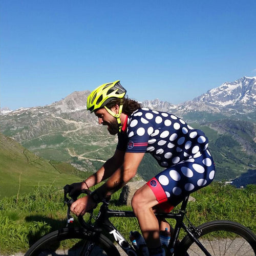 Men's Dots Cycling Jersey - Navy/Melon