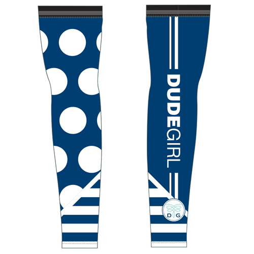 Dots/Stripes Cycling Arm Warmers - Marine (navy)