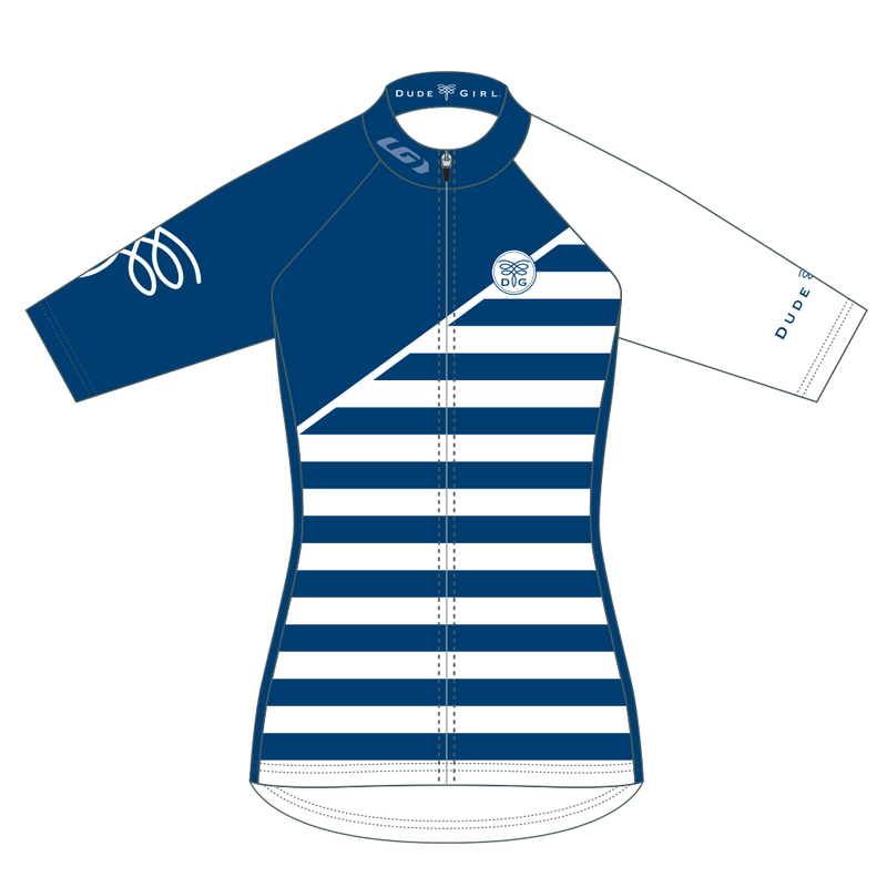 French Stripes Cycling Jersey - Marine (navy)