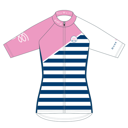 French Stripes Cycling Jersey - Pedal Pink