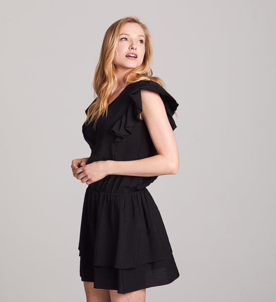 112885307c Black Naomi Ruffled Nursing Dress - Allette