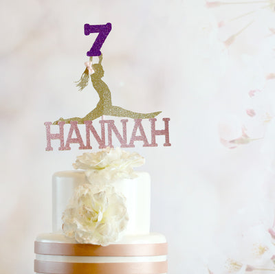 7th Birthday Gymnastics Cake Topper