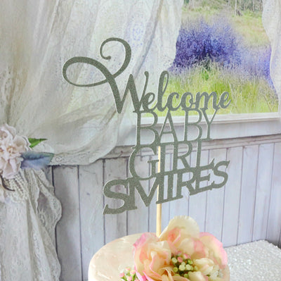 Welcome Baby Girl Cake Topper