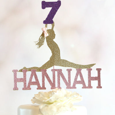 7th Birthday Gymnastics Cake Topper - Memory Keepsake Parties