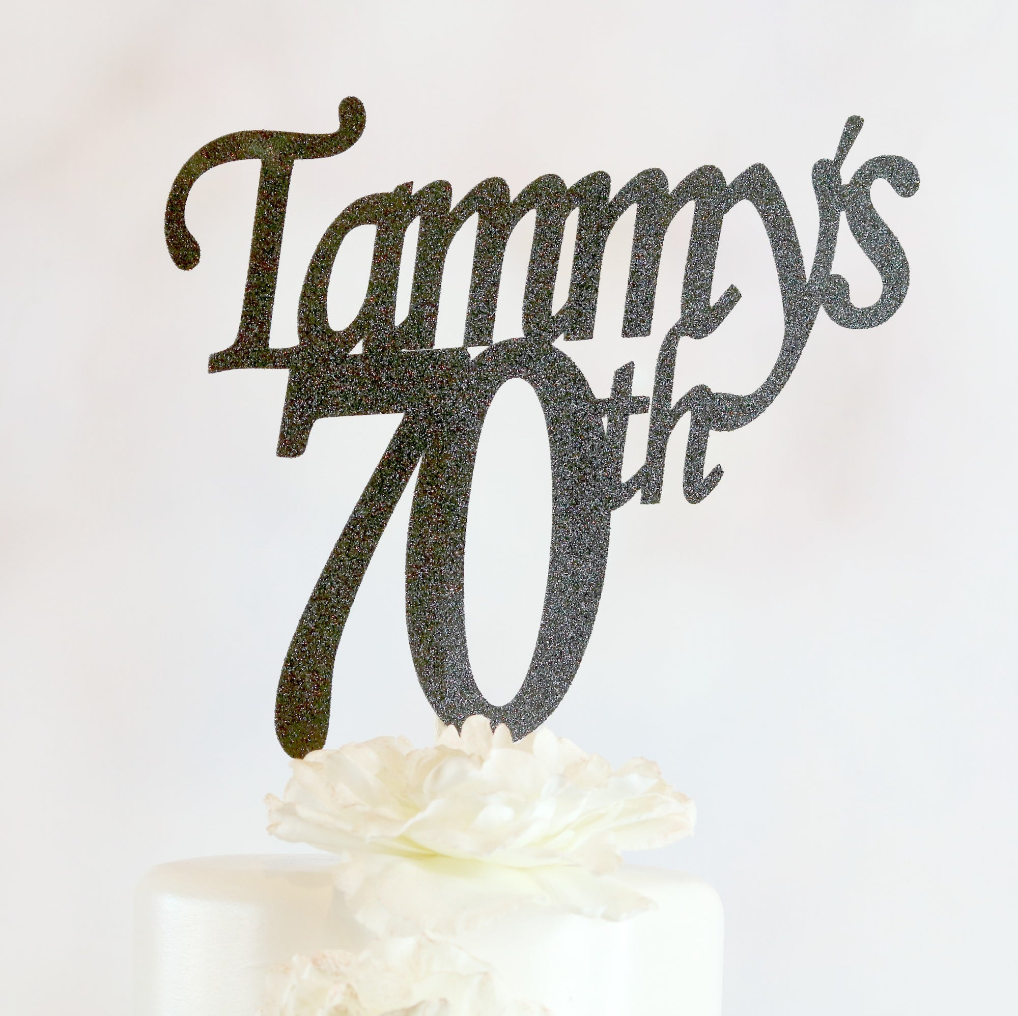 70th Birthday Cake Topper - Any Age and Color - Memory Keepsake Parties