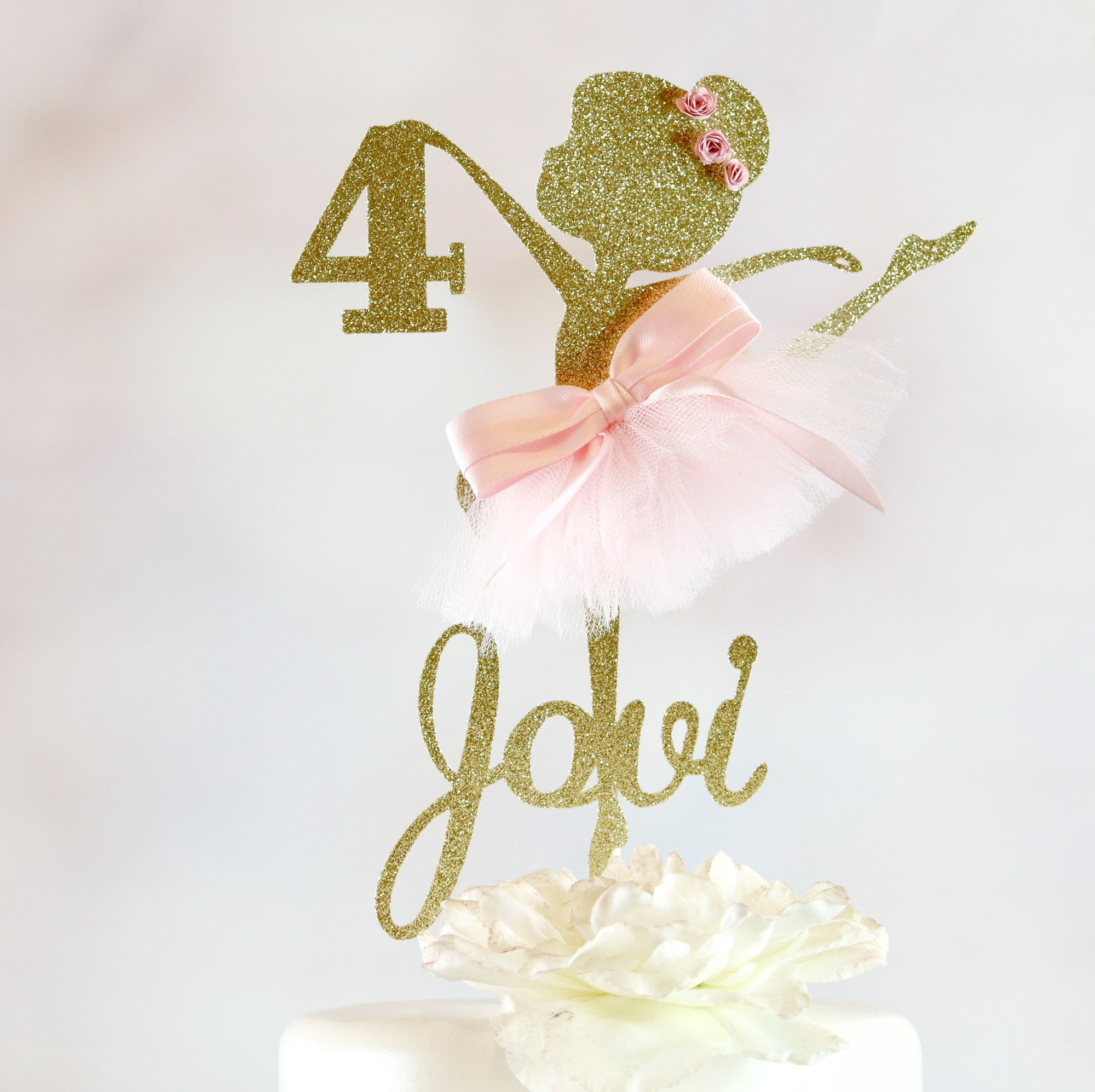 4th Birthday Ballerina Cake Topper - Memory Keepsake Parties