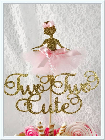 Ballerina Two Two Cute Cake Topper