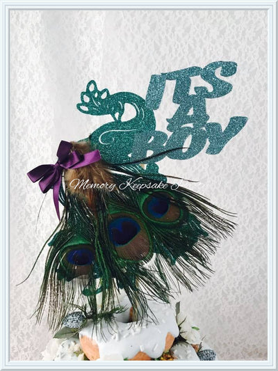 Its A Boy Peacock Cake Topper