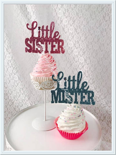 Little Mister and Little Sister Cupcake Toppers