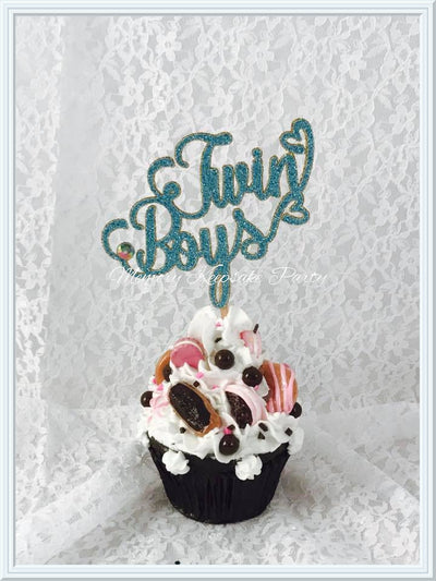 Twin Boys Cupcake Toppers