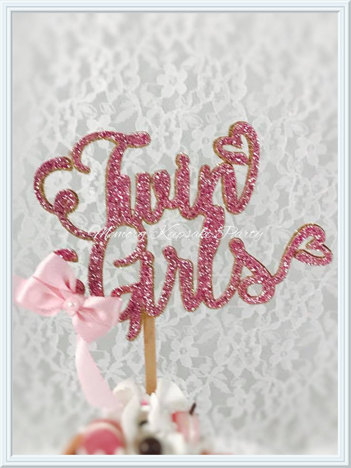 Twin Girls Cupcake Toppers