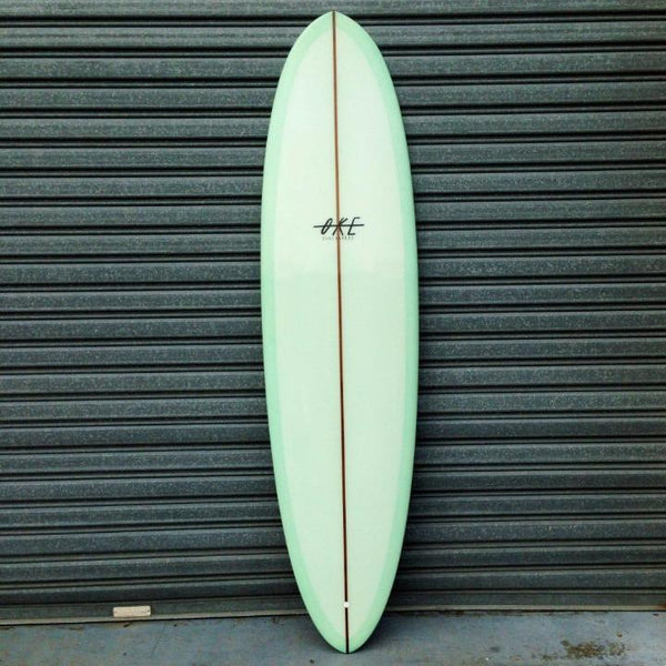 The Oke Surfboards mid length single fin is now available with Afterpay at stapleseason.com