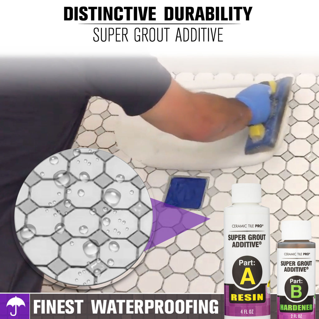 New Shower Floor Tile with Super Grout Additive waterproof grout