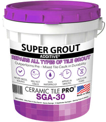SGA 30 - Super Grout Additive Premium Waterproof Tile Grout Repair & Adhesive (Grout Sold Separately) Includes Epoxy Sponge - Syringes - Mixing Cups & Sticks - Makes 90 oz Epoxy Grout - Made in USA
