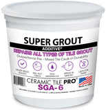 SGA 6 - Super Grout Additive® Premium Waterproof Tile Grout Repair & Adhesive (Grout Sold Separately) Kit Includes Applicator - Mixing Cups & Sticks - Makes 18 oz Epoxy Grout - Made in USA