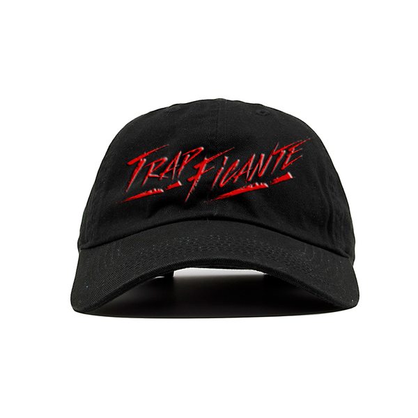 TrapFicante Dad Hat (Black/Red Letters)