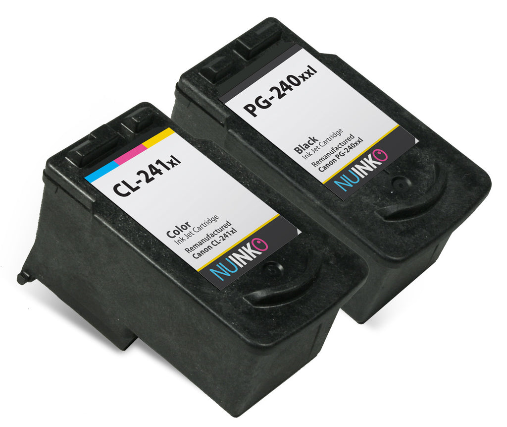 NUINKO 2 Pack Remanufactured Canon 240XXL Canon 241XL Ink Cartridge for Canon PIXMA MG3520 MX472 MG3220 MG3522 MG2220 MX532 Printers (1 Black 1 Color)