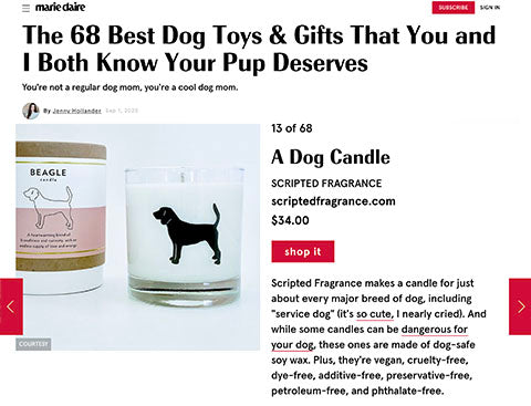 Marie Claire Magazine Scripted Fragrance Best Dog Gifts Scented Soy Dog Breed Candles