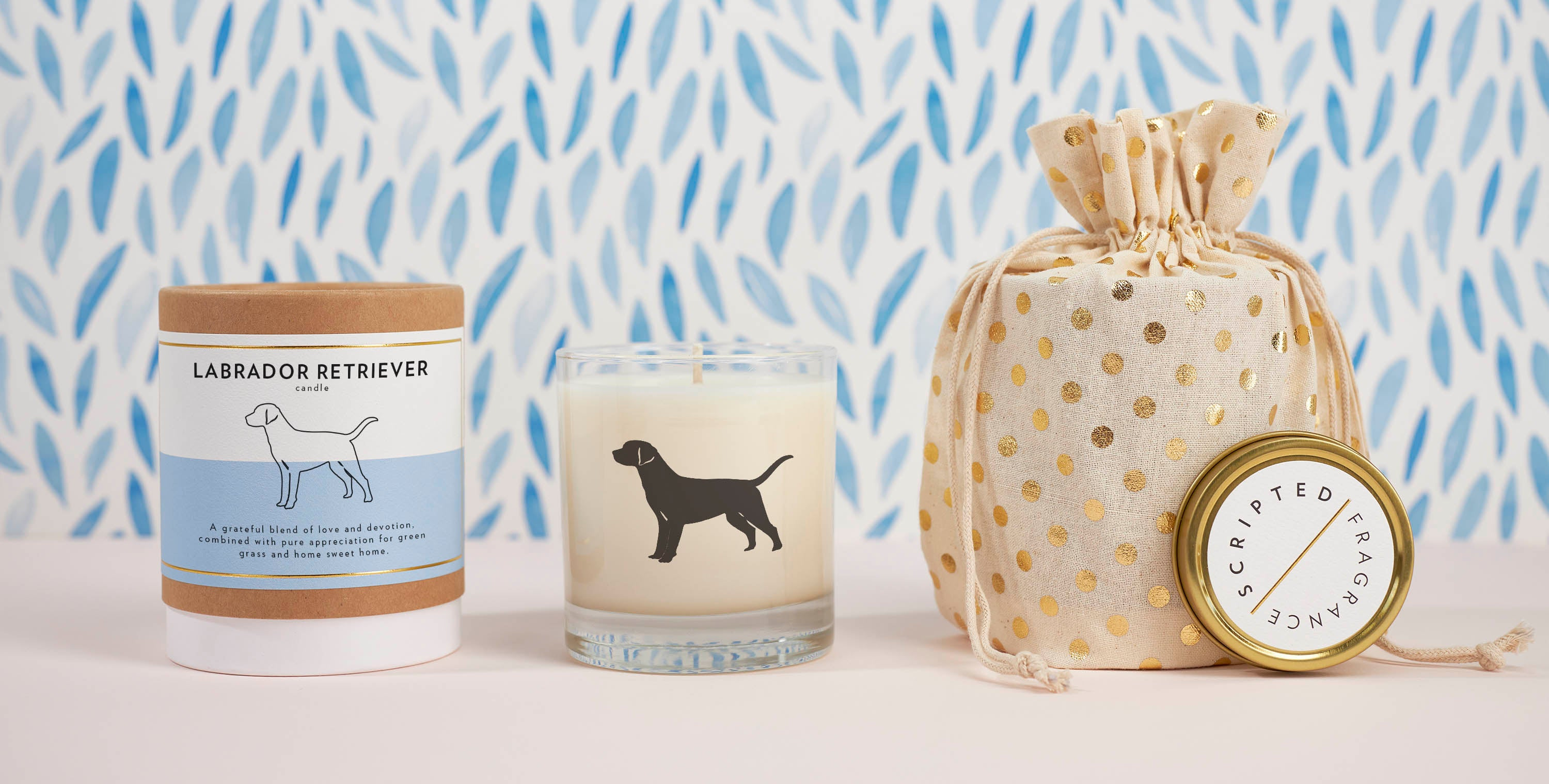 Scripted Fragrance Wedding Events Candle Favors Pet Collection Labrador Candle with Gift Wrap