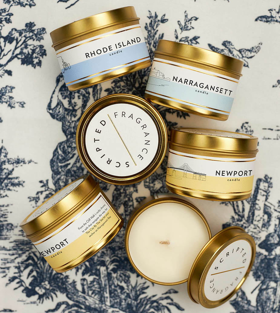 Scripted Fragrance Soy Candle Favors Wedding and Special Events Rhode Island Narragansett Newport
