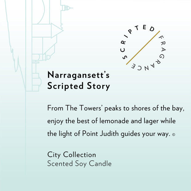 Narragansett, Rhode Island City Soy Candle with Signature Silhouette Glass