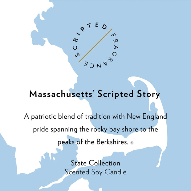 Massachusetts State Soy Candle in Signature Silhouette Glass
