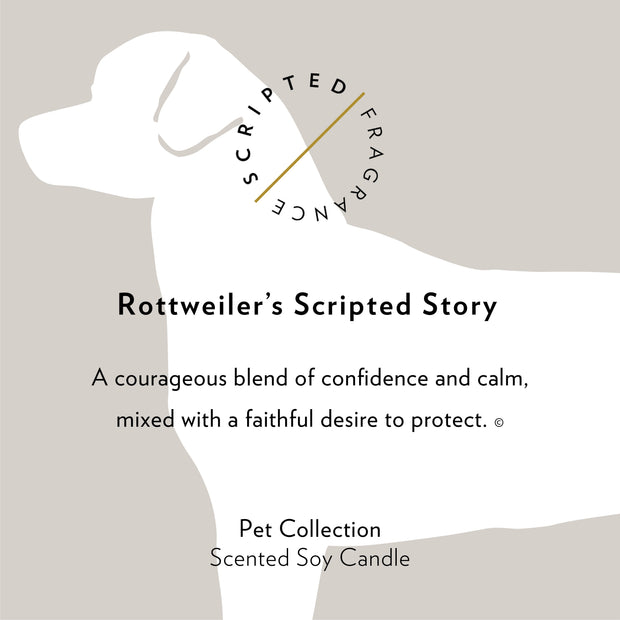 Rottweiler Dog Breed Soy Candle in Signature Silhouette Glass