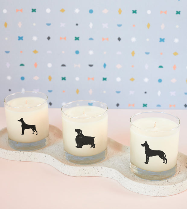 Doberman Pinscher Dog Breed Soy Candle in Signature Silhouette Glass