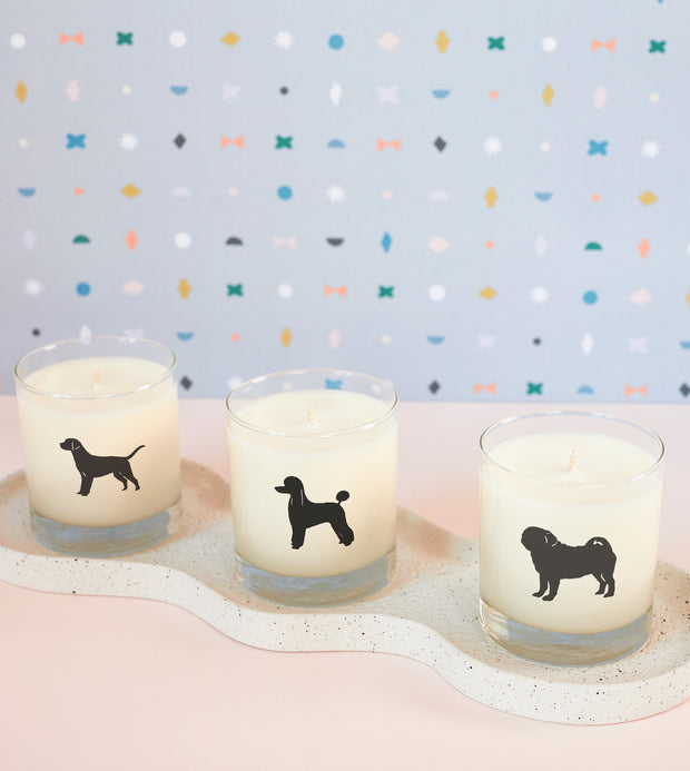 Pug Dog Breed Soy Candle in Signature Silhouette Glass