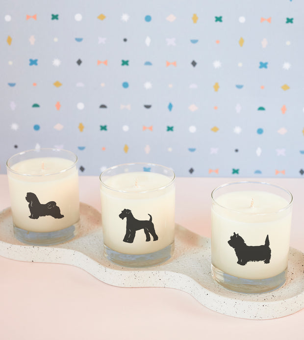 Maltese Dog Soy Candle in Signature Silhouette Glass