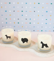 Miniature Schnauzer Dog Breed Soy Candle in Signature Silhouette Glass