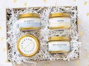 Meditation and Wellness Collection Gift Set |  4 Mini Luxe Gold Tin Soy Candles