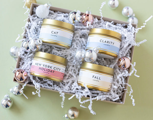 Create Your Own Gift Set |  4 Mini Luxe Gold Tin Soy Candles