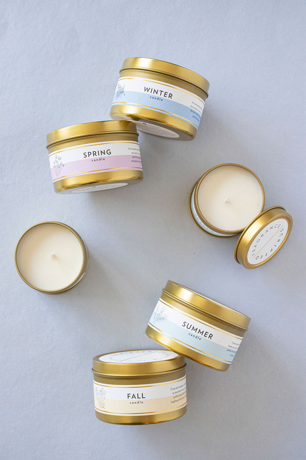 Seasonal Collection Gift Set |  4 Mini Luxe Gold Tin Soy Candles